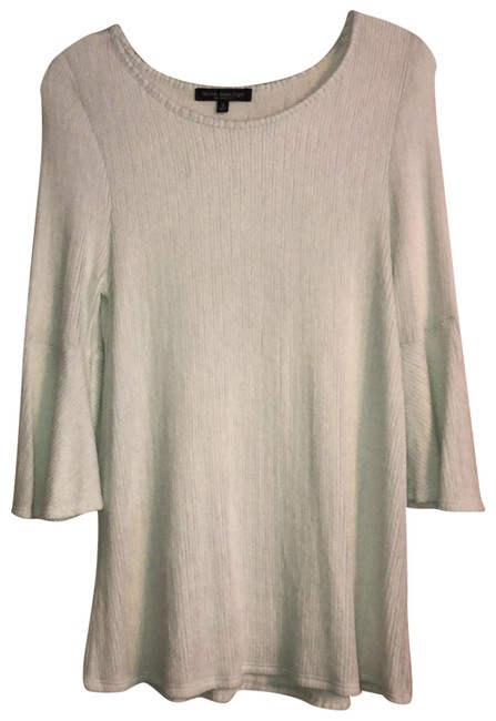 Item - Pale Blue Ribbed Bell Sleeves Tunic Size 10 (M)