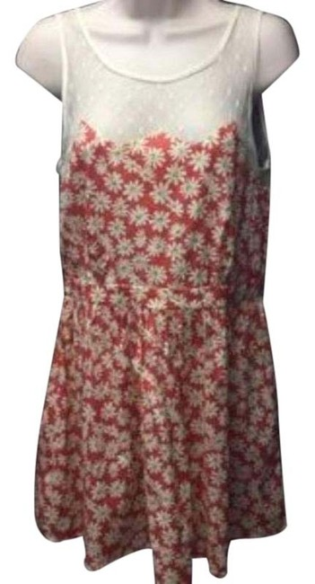 Item - Red White Cream Floral Large Short Night Out Dress Size 12 (L)