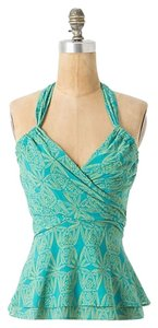 Anthropologie Teal and Beige Halter Top