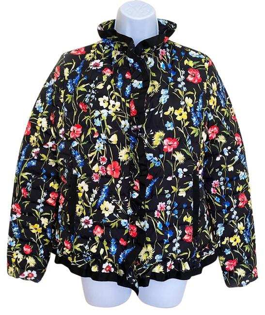 Item - Black Multi Bright and Bold Floral Motifs Enliven A Classic Puffer Jacket Coat Size 4 (S)