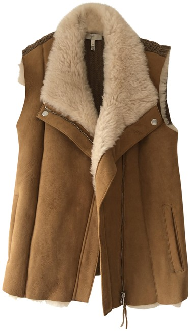 Joie Brown and Cream Brinley Shearling Vest Size 2 (XS) Joie Brown and Cream Brinley Shearling Vest Size 2 (XS) Image 1