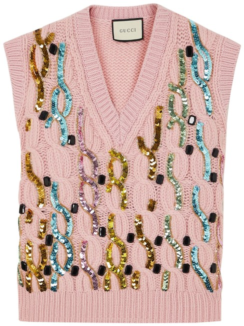 Gucci Pink Embellished Cable-knit Wool Vest Size 12 (L) Gucci Pink Embellished Cable-knit Wool Vest Size 12 (L) Image 1