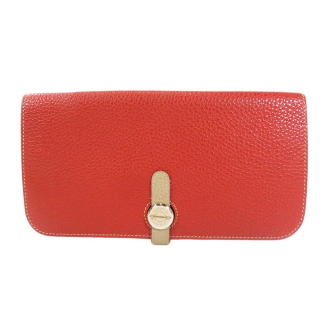 Item - Beige / Red Color Long Dogon Silver Hardware Taurillon Ladies Wallet