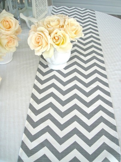 Gray and White Chevron Linen Table Runners - Set Of 10 Tablecloth