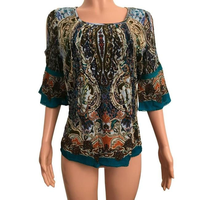 Item - Multicolor Pintuck Bohemian Tapestry Blouse Size 6 (S)