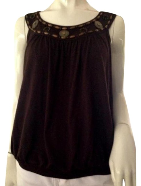 Item - Brown With Beaded Neck Large (Sku 000209) Tank Top/Cami Size 12 (L)