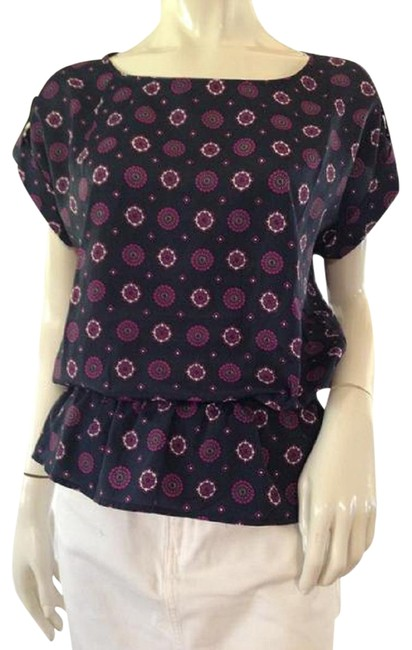 Item - Dark Blue Purple White With Floral Design (Sku 000209) Tunic Size 8 (M)