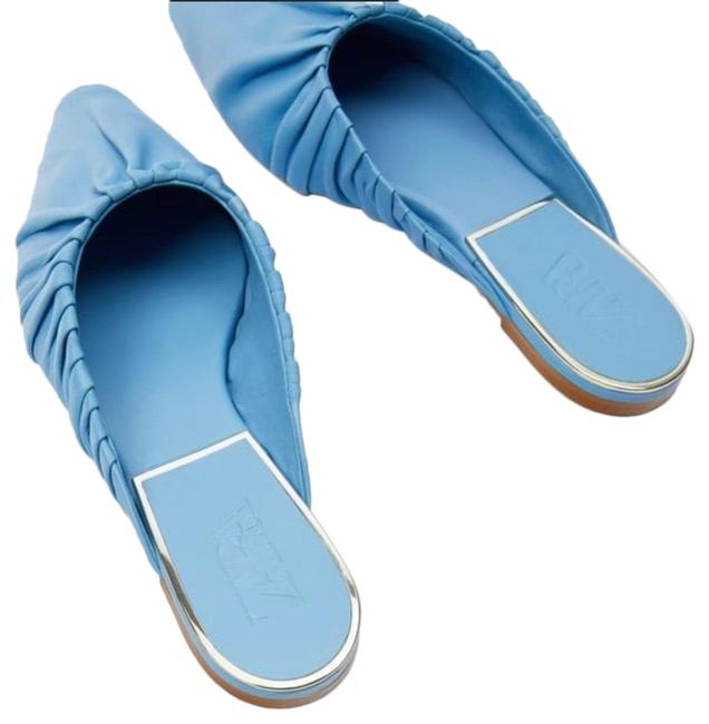 Item - Ruched Flat Leather Mules/Slides Size US 9 Regular (M, B)