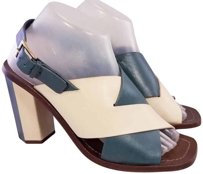 Item - Beige and Teal Leather High Heels M Sandals Size US 9 Regular (M, B)