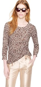 J.Crew Animal Linen Top safari cat print