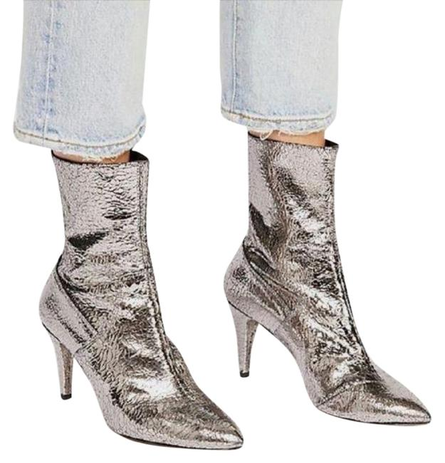 Item - Silver New Willa Crackled Metallic Leather Ankle Boots/Booties Size EU 36 (Approx. US 6) Regular (M, B)