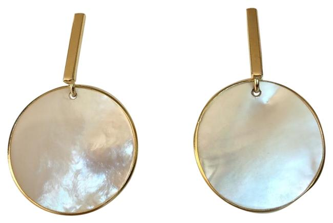 Item - Pearl Gold Plated Disks Drops Earrings