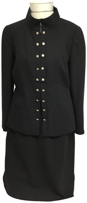 Item - Black Front Jacket with Silver and Cream Logo Buttons And Skirt Suit Size 10 (M)