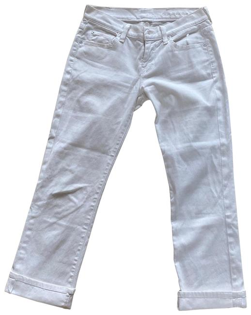 Item - White Cuffed 25 Length Capri/Cropped Jeans Size 0 (XS, 25)