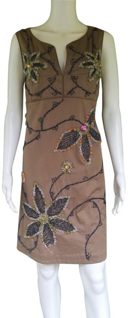 Item - Brown Floral Beaded Sheath 40 Mid-length Short Casual Dress Size 6 (S)