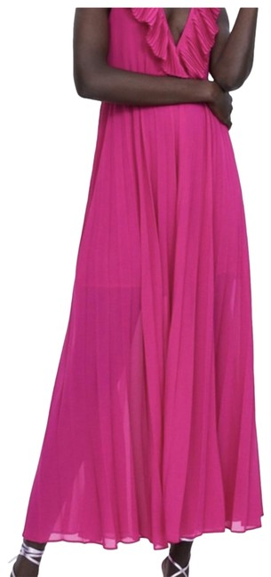 Item - Hot Pink Pleated Maxi Long Formal Dress Size 2 (XS)