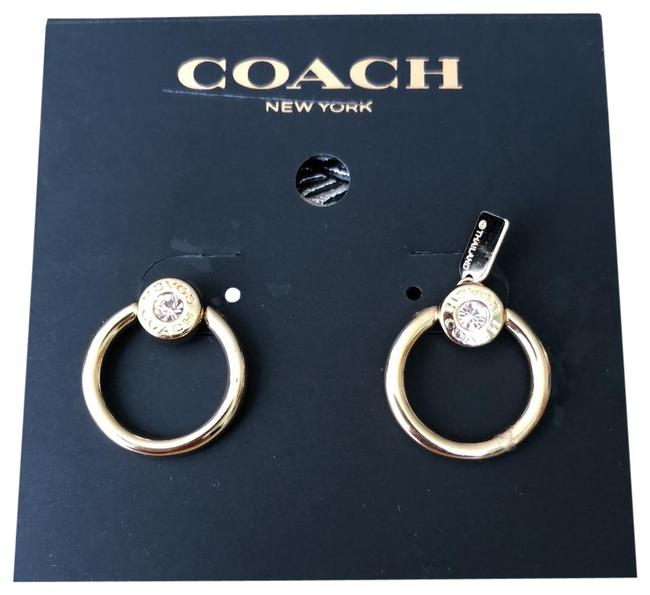 Item - Yellow Gold Circle Crystals Post Earrings