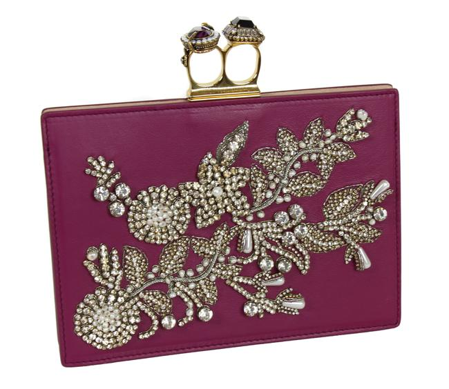 Item - New Two Ring Knuckle Embroidery Burgundy Leather Clutch