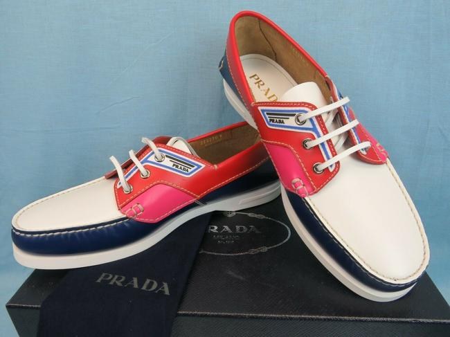 Item - Red 2eg270 Cobalto Leather Logo Lace Up Moccasins Boat Loafers 9 Us 10 Shoes