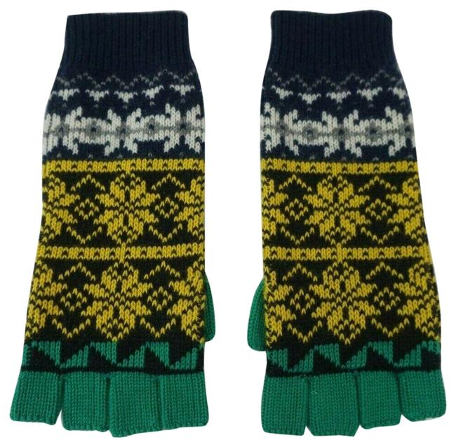 Item - Multi Color Cable Knit Wool Cashmere Fingerless Gloves Snowflakes