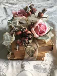 Handcrafted Decorative Floral/gold Books Arrangement
