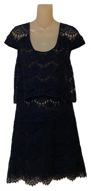 Item - Black Relief Lace Fr213 Mid-length Cocktail Dress Size 8 (M)