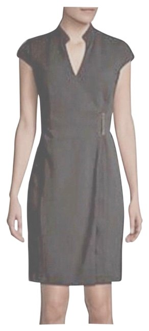 Item - Gray Cap Sleeve Charcoal Buckle Mid-length Work/Office Dress Size 4 (S)