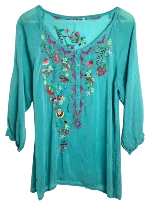 Item - Turquoise Blue Green Embroidered Floral Blouse Tunic Size 4 (S)