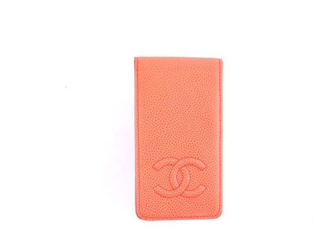 Item - Coral Pink Cocomark Caviar Leather Ipod Tech Case Wallet