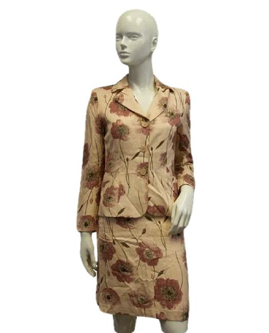 Item - Peach Brown Pink Cheap and Chic Floral and Jacket Skirt Suit Size 6 (S)