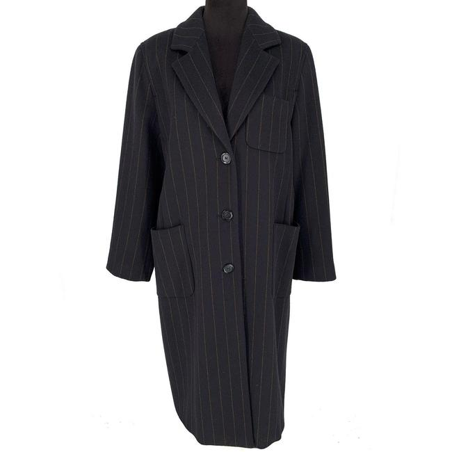 Item - Black/Brown Virgin Wool Angora Striped Long Coat Size 12 (L)