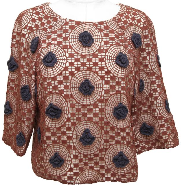 Item - Brown 3/4 Sleeve Crochet Knit Navy Floral Blouse Size 6 (S)