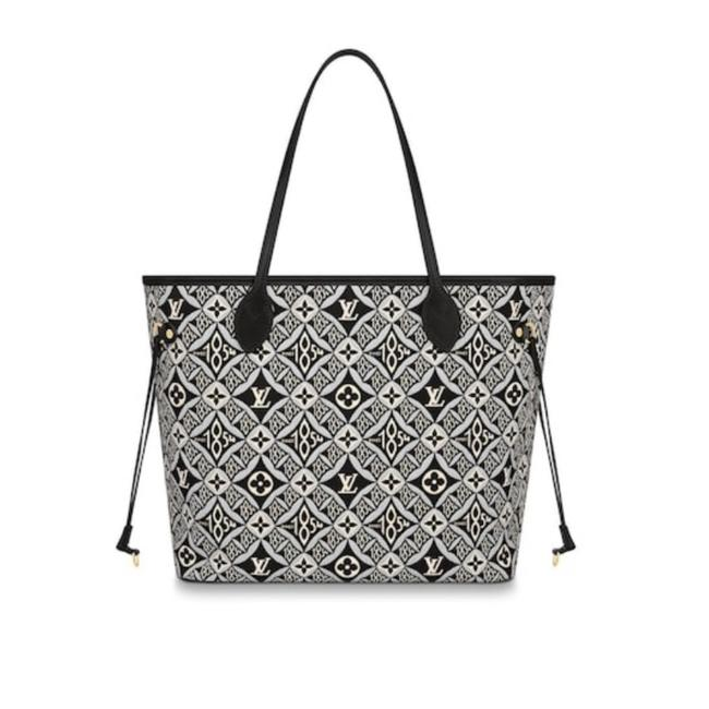 Louis Vuitton Neverfull 1854 Mm Giant Monogram Black Gray Limited Edition *no Pouch* Jacquard Fabric Shoulder Bag Louis Vuitton Neverfull 1854 Mm Giant Monogram Black Gray Limited Edition *no Pouch* Jacquard Fabric Shoulder Bag Image 1