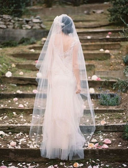 "Ivory Long Two Tier 90"" Drop Veil-ivory"