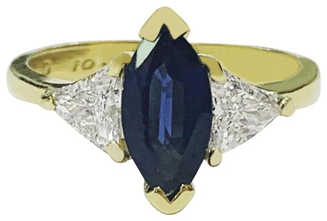 Item - Vintage Sapphire and Diamond In 18k Yellow Gold Ring