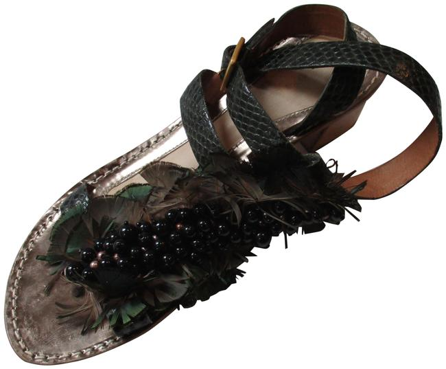 Item - Green Lizard Strappy Bead Feather Embellishment Sandals Size EU 37.5 (Approx. US 7.5) Regular (M, B)