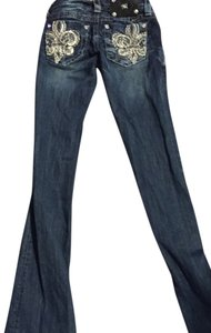 Miss Me Silver White Dark Wash Boot Cut Jeans-Dark Rinse