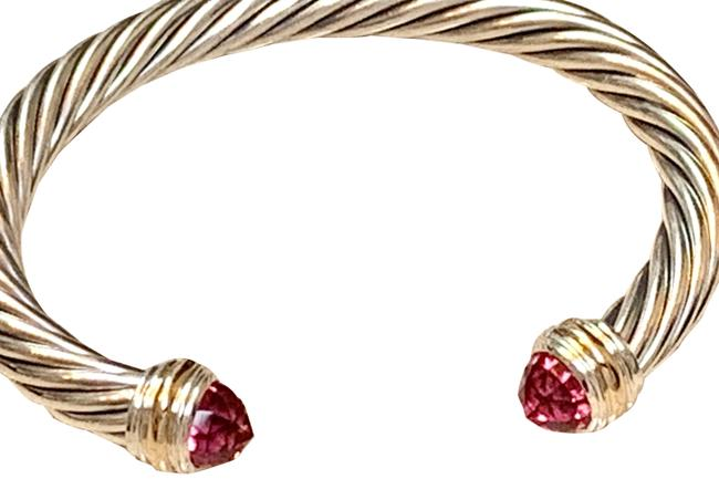 Item - Pink Tourmaline Silver and Gold Cable Classics Cuff Collection Bracelet