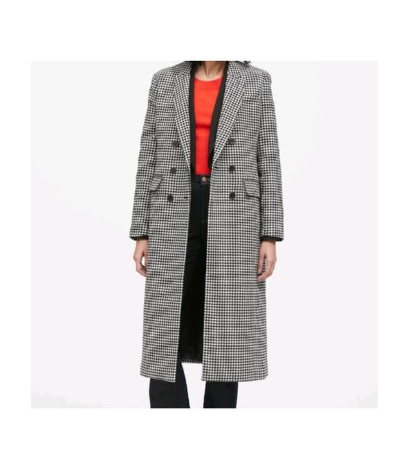Item - Black White Houndstooth Double Breasted Car Coat Size 4 (S)
