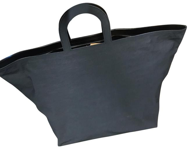 Item - Duffle Oversized Stencil Navy Canvas with Leather Tote