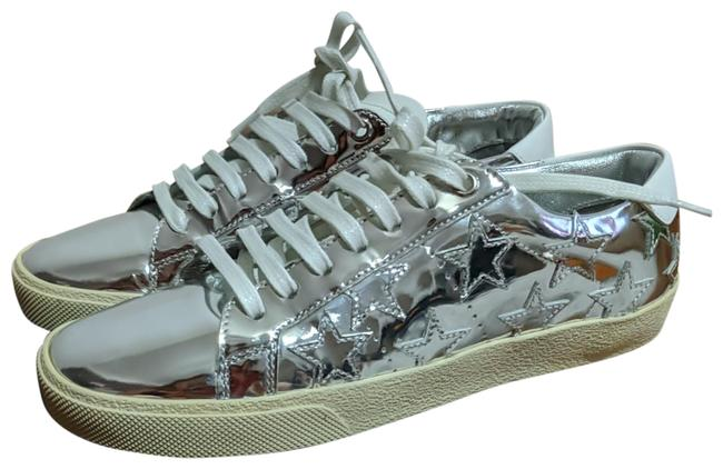 Item - Silver Court Classic Star Metallic Leather Sneakers Size EU 37 (Approx. US 7) Regular (M, B)