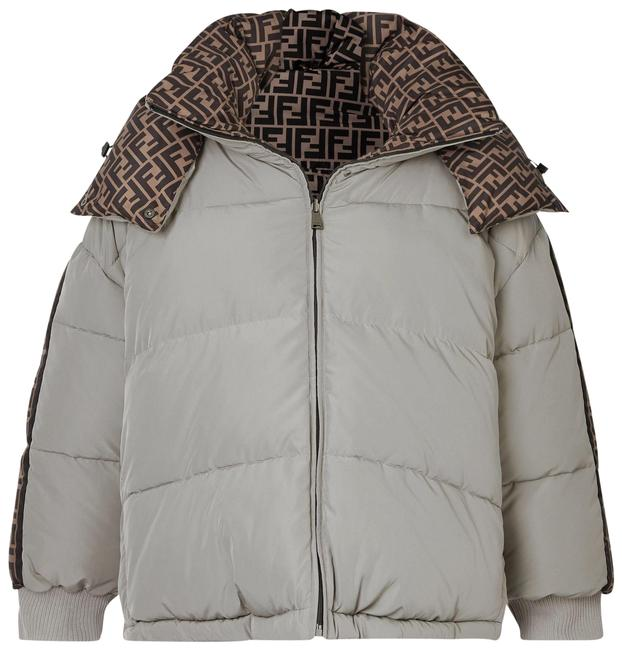 Item - Light Gray Reversible Hooded Printed Quilted Shell Down Jacket Coat Size 4 (S)