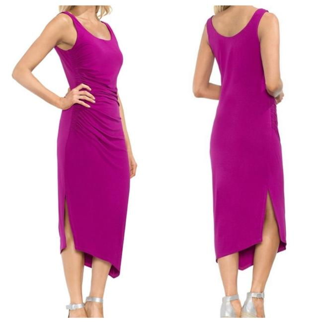 Item - Fuchsia Ruched Midi Mid-length Cocktail Dress Size 0 (XS)