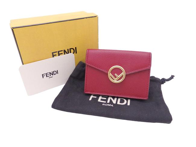 Item - Dark Red Tri-fold Is Leather Gold Hardware Micro Compact Ladies Wallet