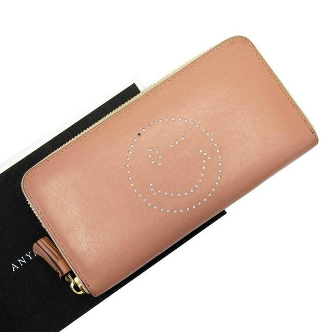 Item - Gold / Pink Round Zipper Smiley Leather Ladies Wallet