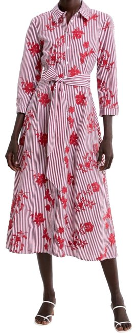 Item - White and Red Long Embroidered Mid-length Work/Office Dress Size 4 (S)