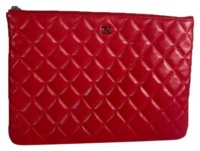 Chanel Case Quilted Ipad Tablet Red Lambskin Leather Clutch Chanel Case Quilted Ipad Tablet Red Lambskin Leather Clutch Image 1