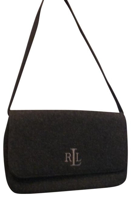 Item - Monogrammed Felted Purse Charcoal Gray Wool Shoulder Bag