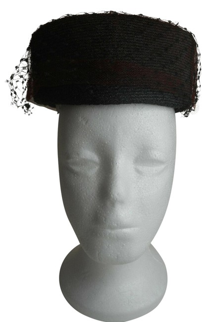 Item - Black W Vintage Womens Pillbox W/ and Brown Netting Hat
