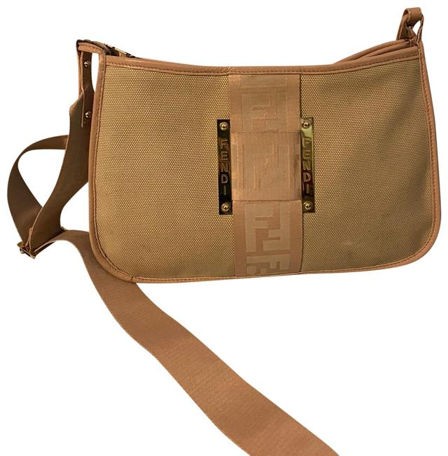 Item - Shoulder Zucca 2way Pink/ Beige Canvas Cross Body Bag